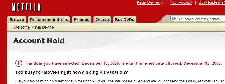 Netflix Hold Date